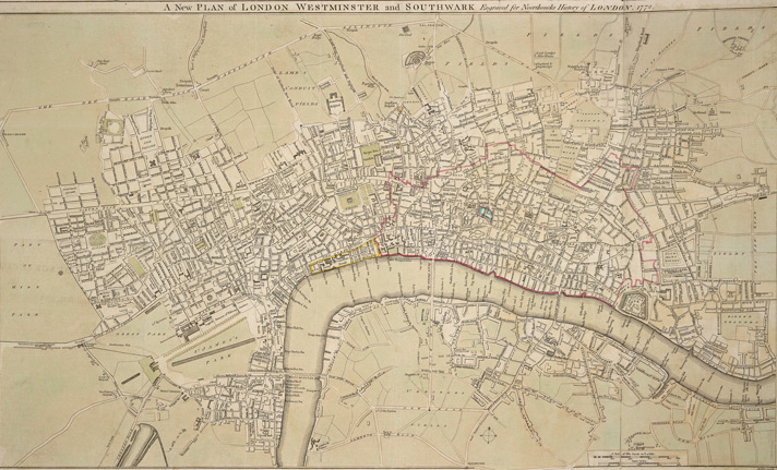 A new plan of London, Westminster and Southwark engraved for Noorthoucks History of London. 1772